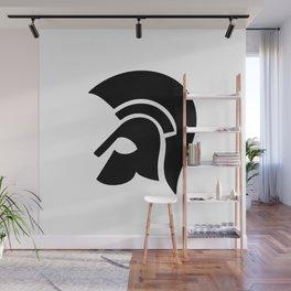 Ancient Spartan Soldier Helmet Black Wall Mural