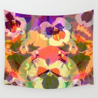 mandie manzano Wall Tapestries featuring Colourful grunge Pansies by thea walstra