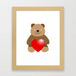 Funny bear with a heart Framed Art Print