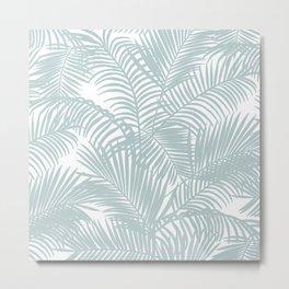 Pastel green modern tropical floral palm tree pattern Metal Print