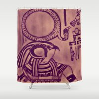 egyptian Shower Curtains featuring Egyptian (Horus) by Aaron Carberry