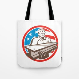 Construction Steel Worker I-Beam USA Flag Circle Tote Bag