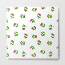 Hand painted pink green watercolor hand painted floral Metal Print