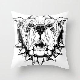 Angry Bulldog Throw Pillow