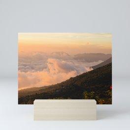 cloudy mountain sunset art Mini Art Print