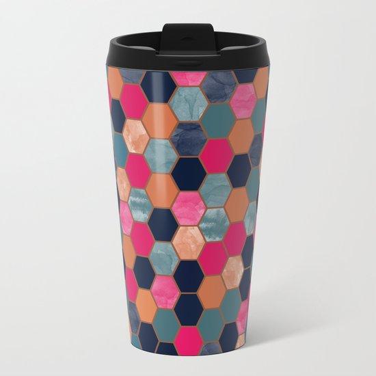 Colorful Honeycomb Metal Travel Mug