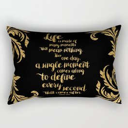 An Ember In The Ashes Quote Design in Gold Foil Rectangular Pillow