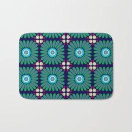 Green and Purple Daises Bath Mat