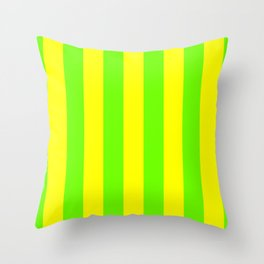 Bright Neon Green and Yellow Vertical Cabana Tent Stripes Throw Pillow