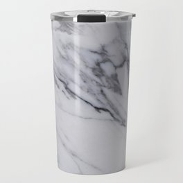 Marble - Black and White Gray Swirled Marble Design Travel Mug