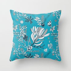 Cool Blue Cradle Flora Throw Pillow