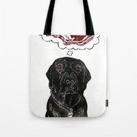 marley Tote Bags featuring Marley Dreams of Meat by minouette