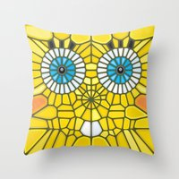 spongebob Throw Pillows featuring Spongebob Voronoi by Enrique Valles