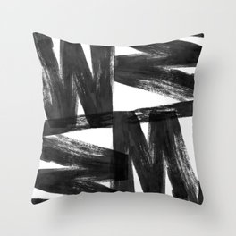 Black ink brush strokes abstract painting Throw Pillow