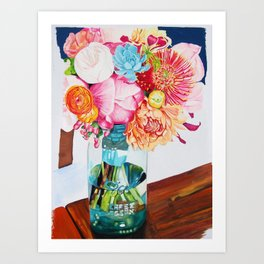 Flowers in a vase - Watercolour painting Art Print