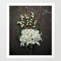 White Flowers on Rustic Table Art Print