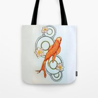 koi fish Tote Bags featuring Koi Fish by Eleni Kakoullis