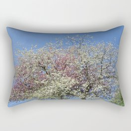 Pink and White Blossom - Blue Sky Rectangular Pillow
