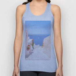 Santorini Greece Mamma Mia pink street travel photography Unisex Tank Top