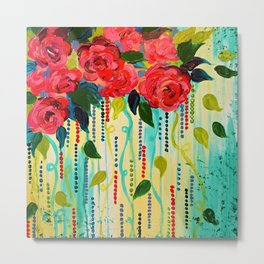 ROSE RAGE Stunning Summer Floral Abstract Flower Bouquet Feminine Pink Turquoise Lime Nature Art Metal Print