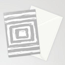 Minimal Light Gray Brush Stroke Square Rectangle Pattern Stationery Cards