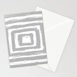 Minimal Light Gray Brush Stroke Square Rectangle Pattern Stationery Cards