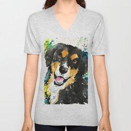Bernese Mountain Dog Painting Design Unisex V-Neck