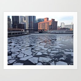 Chicago River Ice Shapes Art Print