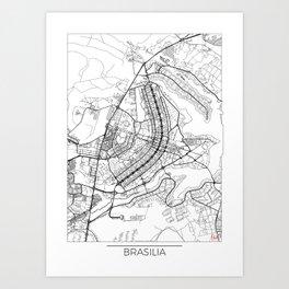 Brasilia Map White Art Print