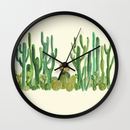 In my happy place - hedgehog meditating in cactus jungle Wall Clock