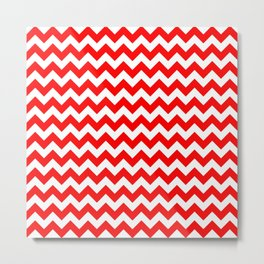 CHEVRON DESIGN (RED-WHITE) Metal Print