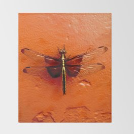 Dragonfly on the Wall Throw Blanket