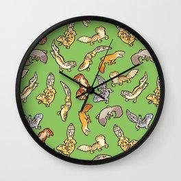 geckos in green Wall Clock