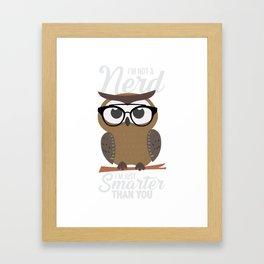 nerdy owl intelligent smart reading funny gift Framed Art Print