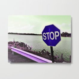 Iterations of a Stop Sign #6: Indigo Metal Print