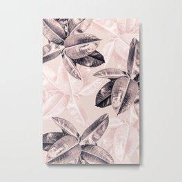 Leaf Photography Millennial Pink Pattern Metal Print