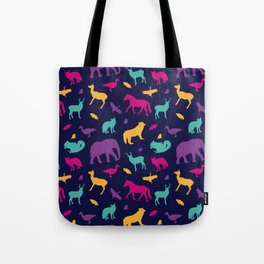 Colorful Wild Animal Silhouette Pattern Tote Bag