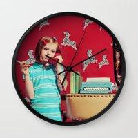 tenenbaum Wall Clocks featuring Tenenbaum by Malice of Alice