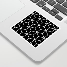 Black and White - Geometric Cube Design II Sticker
