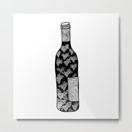 Wine Bottle, Grape Pattern, Wine Lovers Illustration, Black & White Metal Print