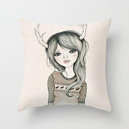 Antler Girl Throw Pillow