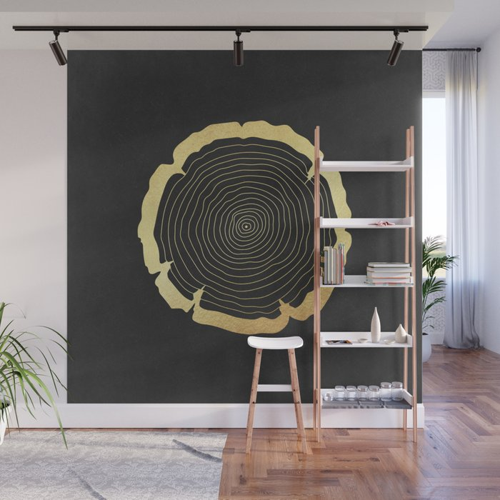 Metallic Gold Tree Ring On Black Wall Mural By Naturemagick Society6