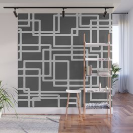 Retro Modern Blanched Slate Rectangles On Storm Grey Wall Mural