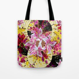 ABSTRACTED FUCHSIA-PINK LILY & HOLLYHOCKS GARDEN Tote Bag