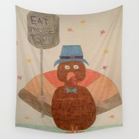 """turkey Wall Tapestries featuring """"Eat More Tofu"""" Turkey by Danielle Gensler"""
