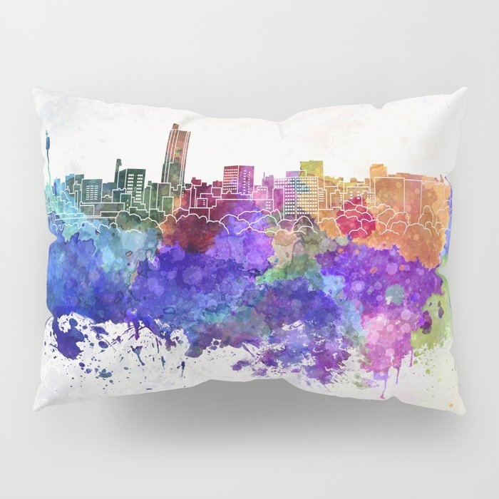 Hiroshima skyline in watercolor background Pillow Sham