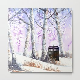 TARDIS IN THE SNOW Metal Print