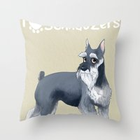 schnauzer Throw Pillows featuring Schnauzer by Bark Point Studio