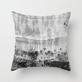 Tropical paradise in black and white | Las Terrenas Dominican Republic drone photography print Throw Pillow