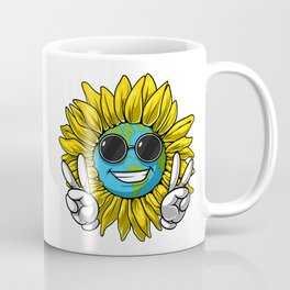 Planet Earth Sunflower Hippie Coffee Mug